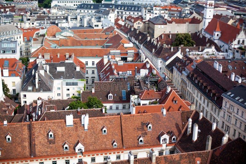 Wien cityscape i Österrike, sikt över stadsmitt arkivbilder