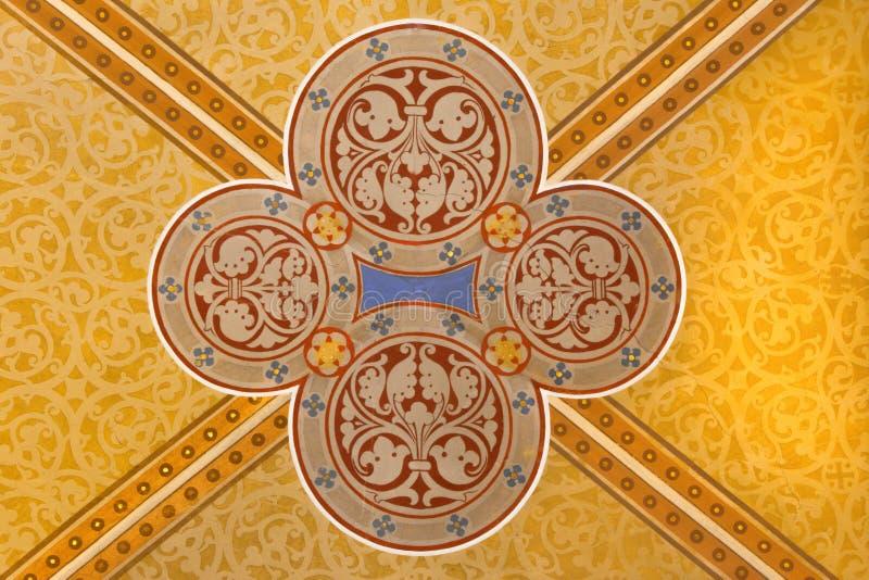Wien - detalj från freskomålning på taket i den Carmelites kyrkan royaltyfri fotografi