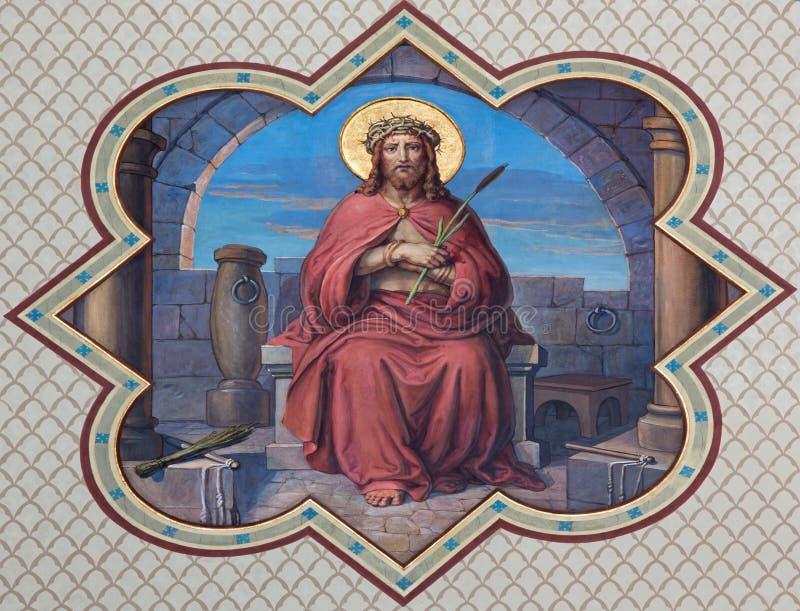 Wien Ecce Homo - Troture von Christus-Fresko lizenzfreie stockfotos