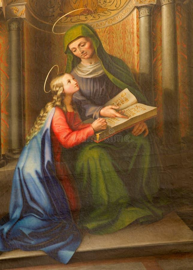 Wien - Farbe von heiligem Ann und kleinem von Jungfrau Maria von. Cent 19. in der gotischen Kirche Maria morgens Gestade lizenzfreies stockfoto