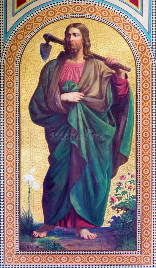 WIEN: Fresko von Jesus Christ als Gärtner durch Karl von Blaas von Jahr 1858 im Kirchenschiff von Altlerchenfelder-Kirche stockfoto