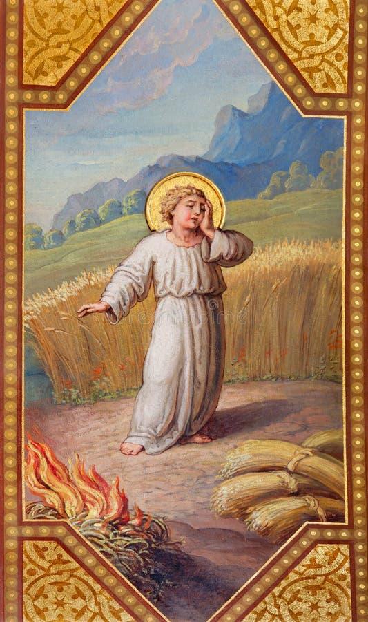 Wien - Fresko von kleinem Jesus in der Parabel lizenzfreie stockfotos