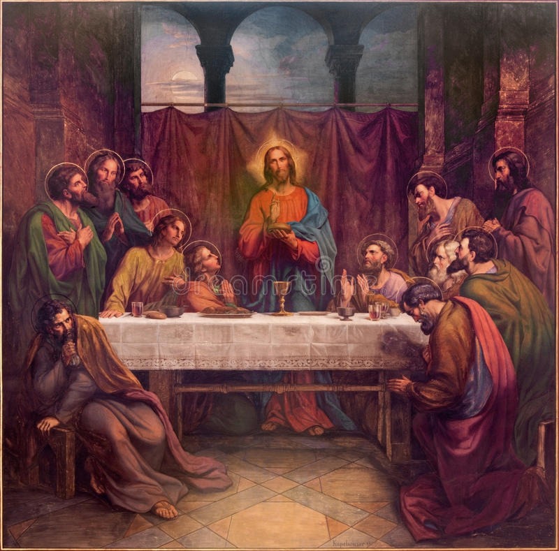 Wien - freskomålning av den sista kvällsmålet av Kristus av Leopold Kupelwieser från 1889 i skepp av den Altlerchenfelder kyrkan arkivbilder