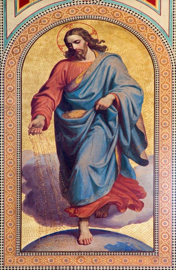 Wien - freskomålning av Jesus Christ som fröhandlare från parabeln i ny testament av Karl von Blaas från. cent 19. i skepp av Altl royaltyfri fotografi