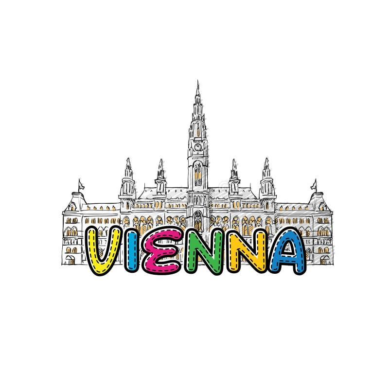 Wien härlig skissad symbol royaltyfri illustrationer