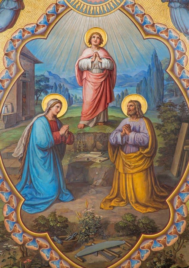 Wien - helig familjfreskomålning i den Carmelites kyrkan royaltyfria bilder