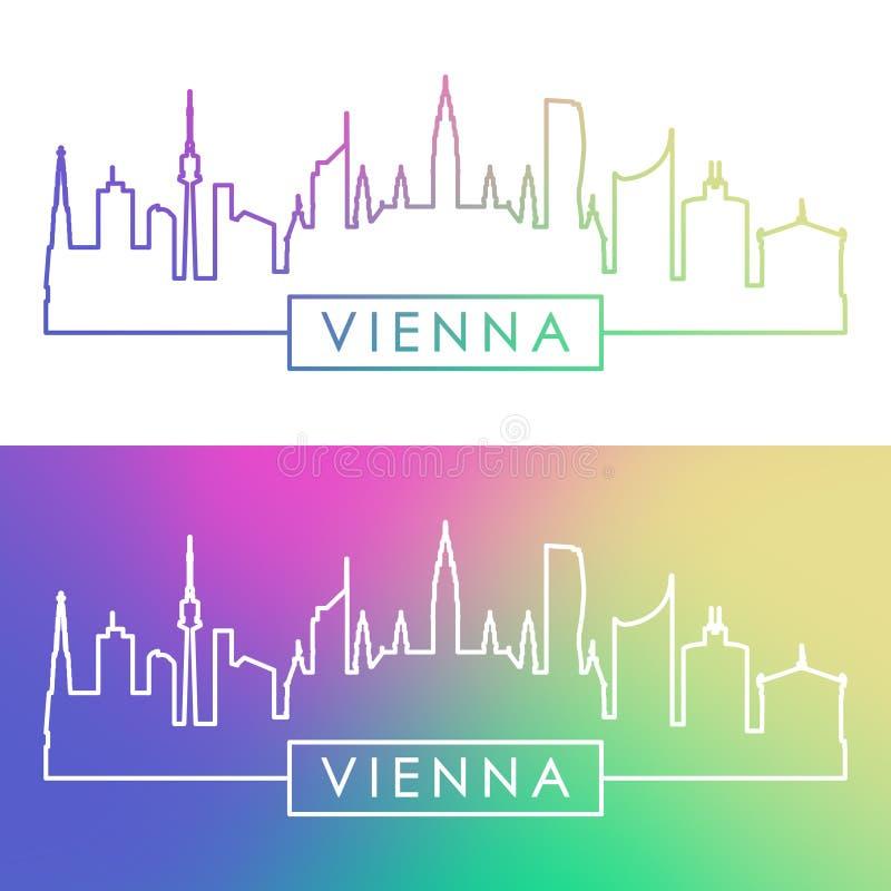 Wien horisont Färgrik linjär stil stock illustrationer