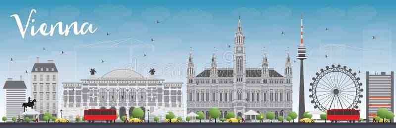 Wien horisont med Gray Buildings och blå himmel vektor illustrationer