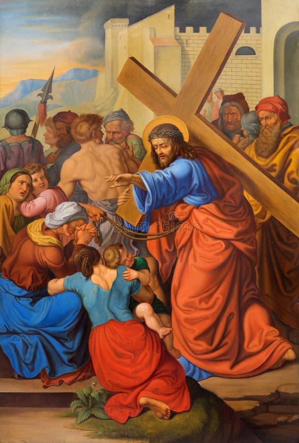Wien - Jesus grät kvinnor på den arga vägen. En del av den arga vägen från. cent 19. i gotiska kyrkliga Maria f.m. Gestade royaltyfri foto