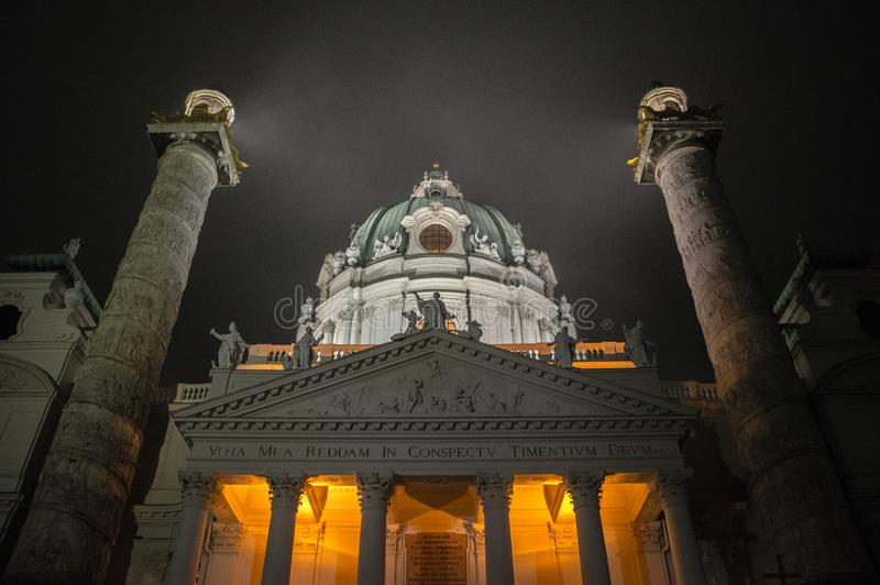Wien Karlskirche by night. Church with lights stock photo