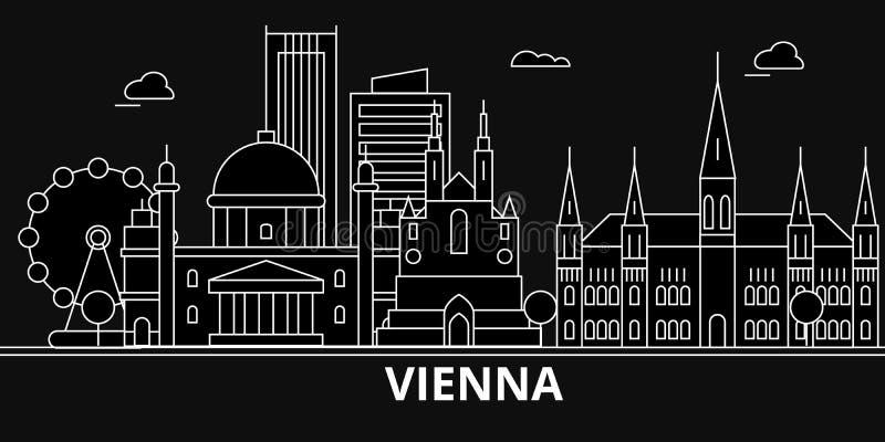Wien konturhorisont Österrike - Wien vektorstad, österrikisk linjär arkitektur, byggnader Wien lopp royaltyfri illustrationer