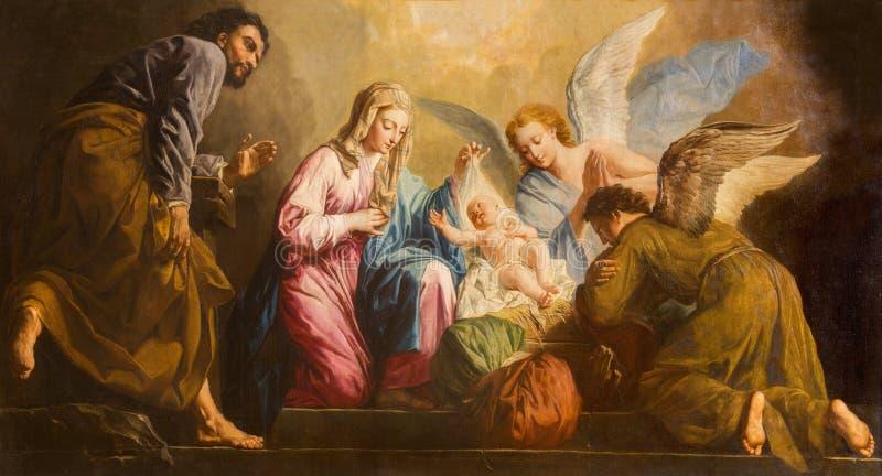 Wien - Kristi födelsemålarfärgen i presbyterium av den Salesianerkirche kyrkan av Giovanni Antonio Pellegrini (1725-1727) arkivbilder