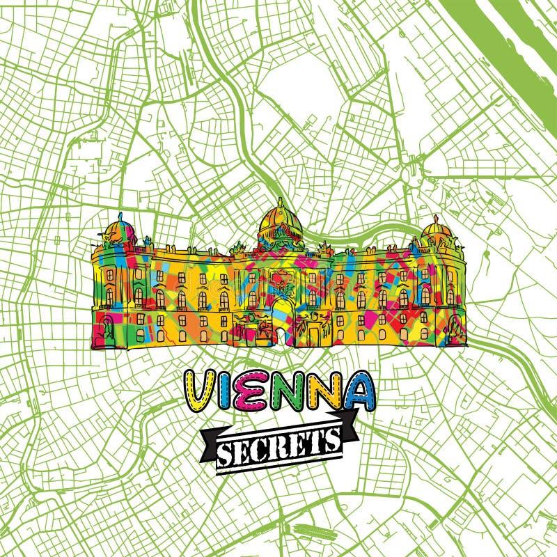 Wien lopphemligheter Art Map royaltyfri illustrationer