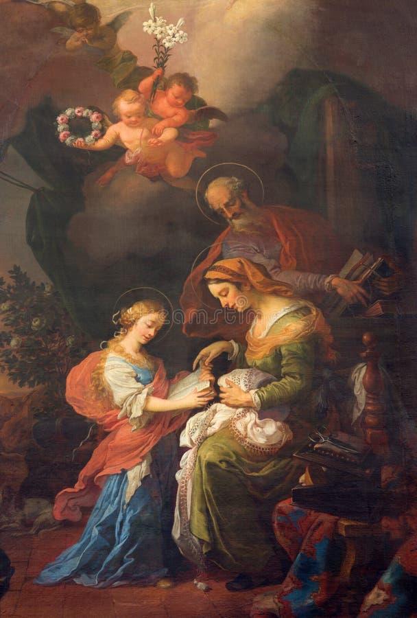 Wien - målarfärg av lilla Vigin en st, en Joachim och en Ann från. cent 19. i den Augustnierkirche eller Augustinus kyrkan royaltyfri foto