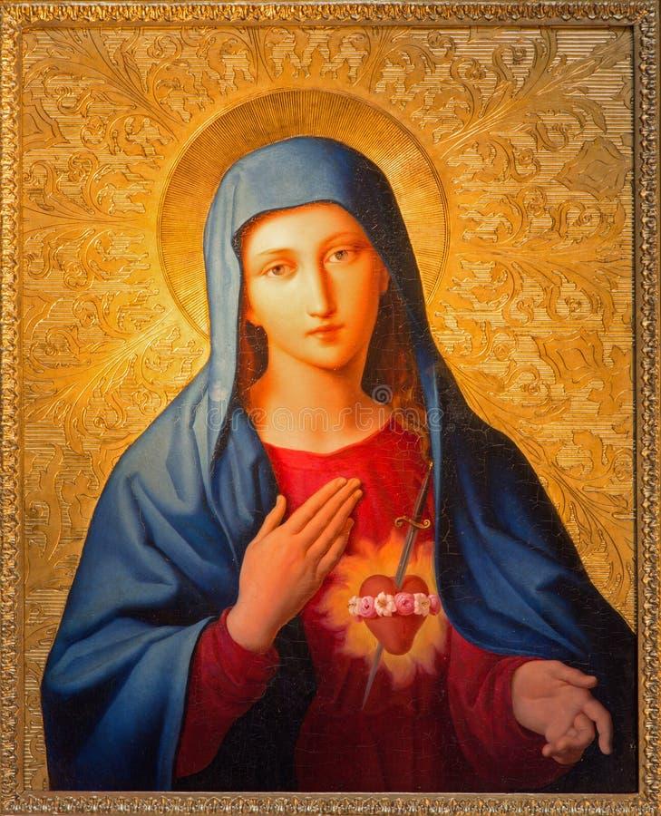 Wien - Madonna målarfärg från den St Peter kyrkan eller Peterskirche av Leopold Kupelwieser fotografering för bildbyråer