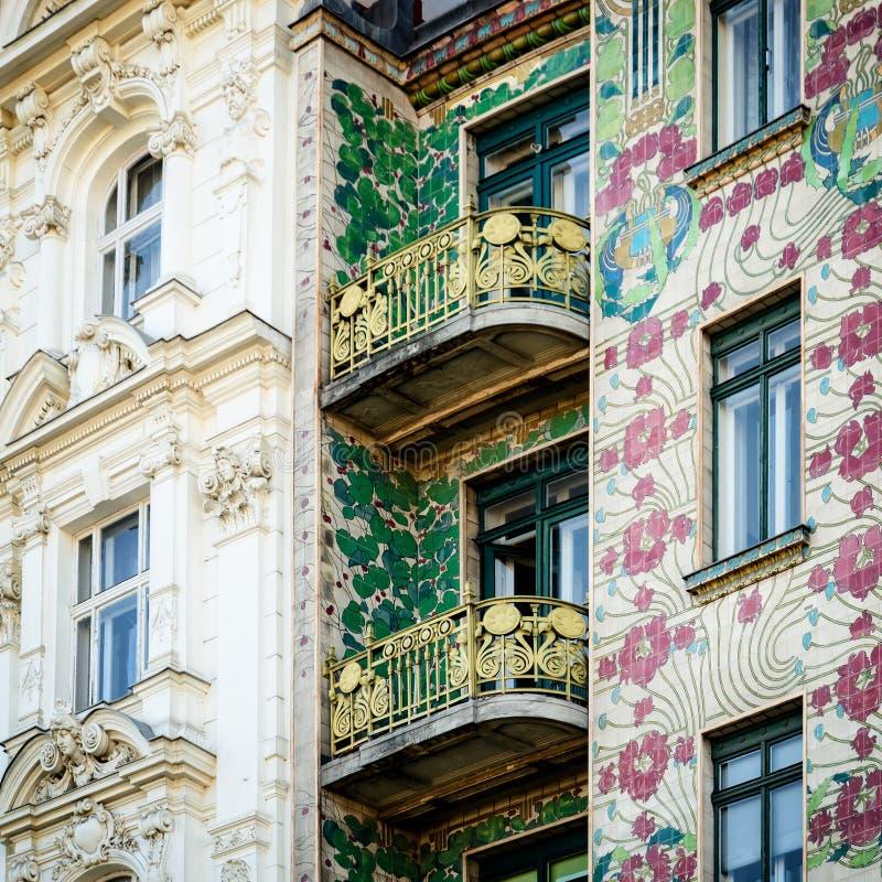 Wien Majolica Hause royaltyfri fotografi