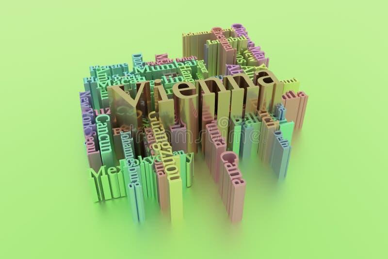Wien ord för nyckelord för stadsloppdestination fördunklar F?r webbsida, grafisk design, textur eller bakgrund framf?rande 3d vektor illustrationer