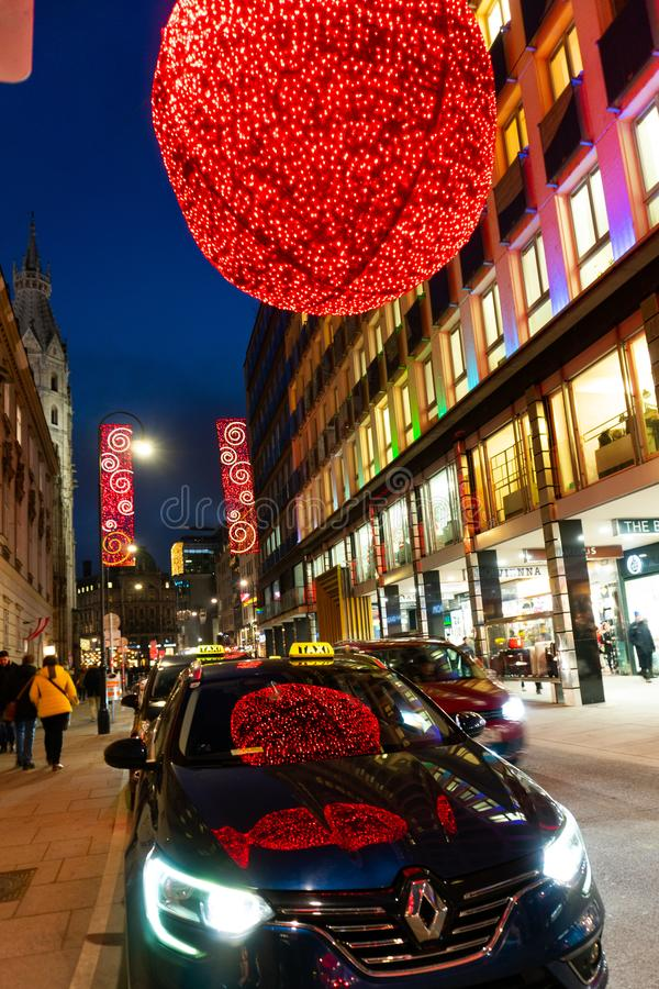 Wien Rotenturmstrasse downtown. Illuminated shopping street during Christmas Time stock photos