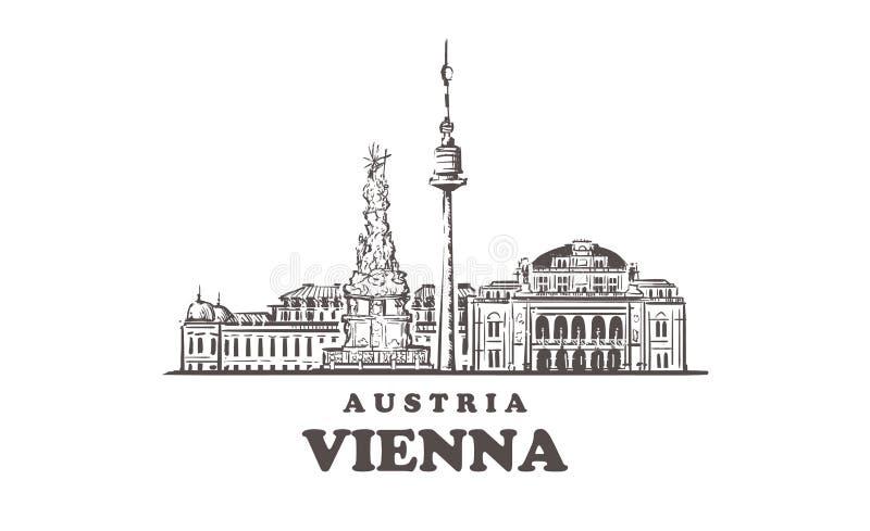 Wien skissar horisont Illustration för vektor för Wien Österrike hand utdragen vektor illustrationer