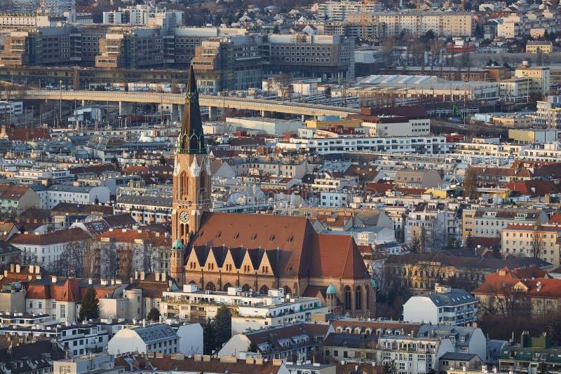Wien skymningsikt royaltyfria bilder