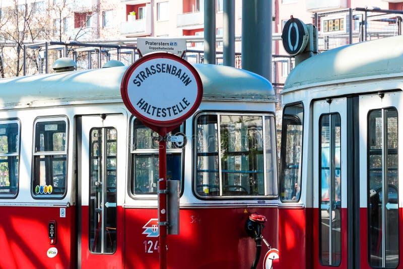 Wien spårvagnstopp royaltyfri fotografi