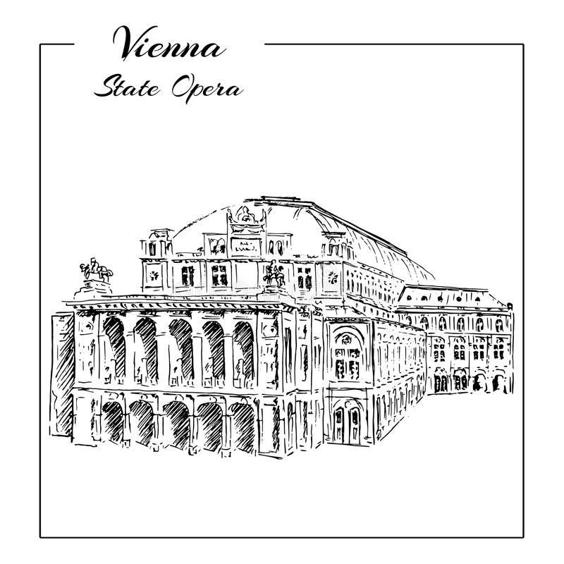 Wien statoperahus, Österrike Frankfurterkorv Staatsoper Den tecknade handen skissar vektor illustrationer