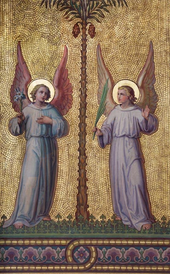 Wien - symbolisk ängelfreskomålning arkivfoton