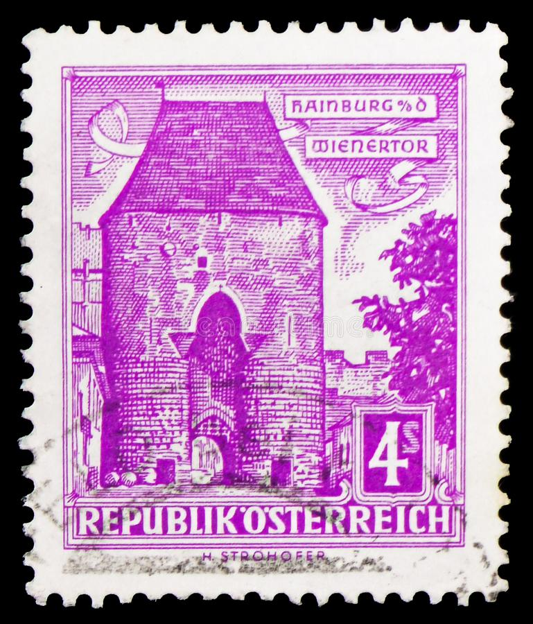 Wien-Tor, Hainburg (Niederösterreich), Gebäude serie, circa 1960 stockbild