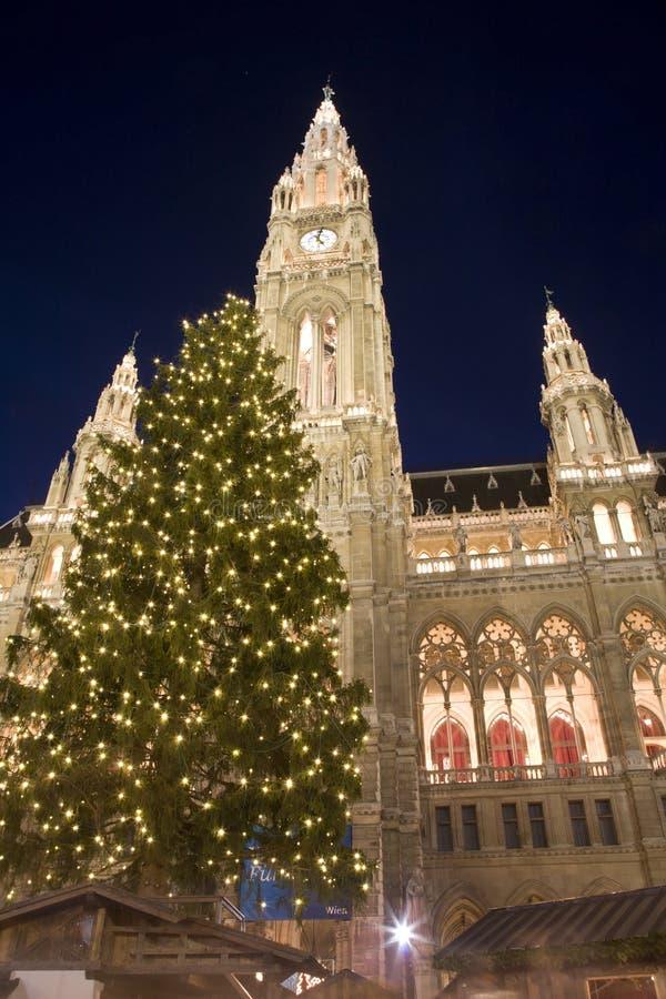Wien - townhall durch Weihnachtsmarkt in der Nacht stockfotos