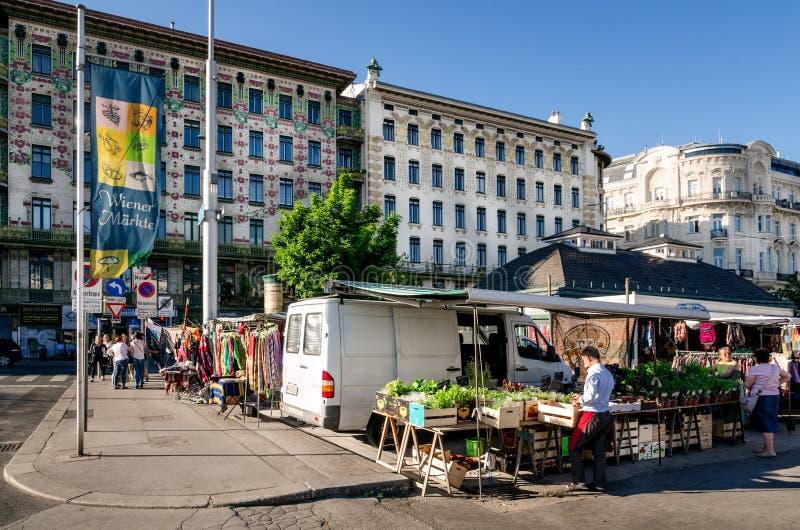 Wiener Naschmarkt in Vienna. VIENNA, AUSTRIA - MAY 19, 2017: The Wiener Naschmarkt, main popular market of Vienna Austria, with stalls and customers on may 19 stock images