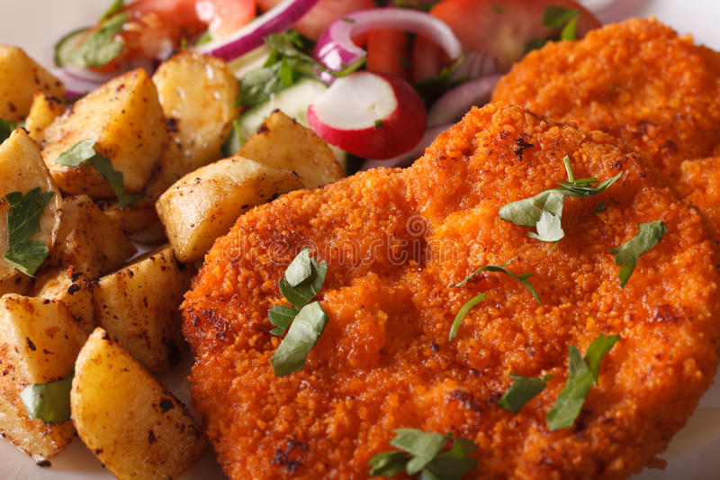 Wiener schnitzel, salad and fried potatoes close-up. horizontal stock images