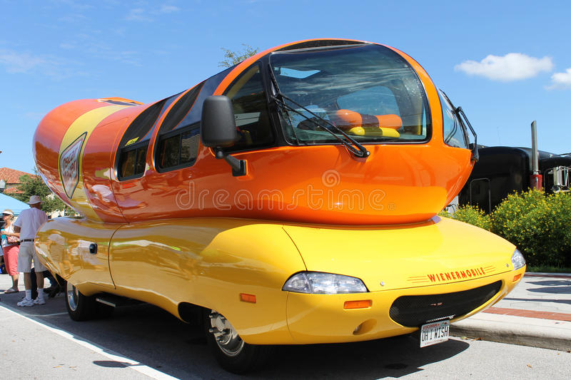 Wienermobile at the car show stock photo
