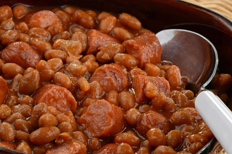 Wieners e feijões fotografia de stock