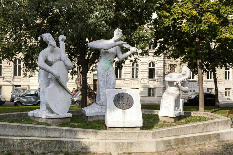 Wienna - city of music. Wienna is city of music. Many great composers like Mozart. Beethowen, Mahler and other lived and worked in Wienna. This sculptures in stock photo