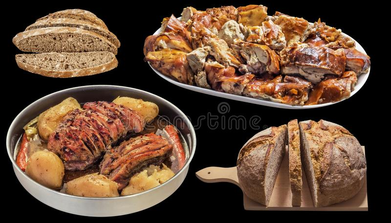 Wieprzowina baleron Piec z grulami i Plateful mierzeja Piec wieprzowiny mięso z Domowym Nieociosanym Brown chlebem Odizolowywając obraz stock