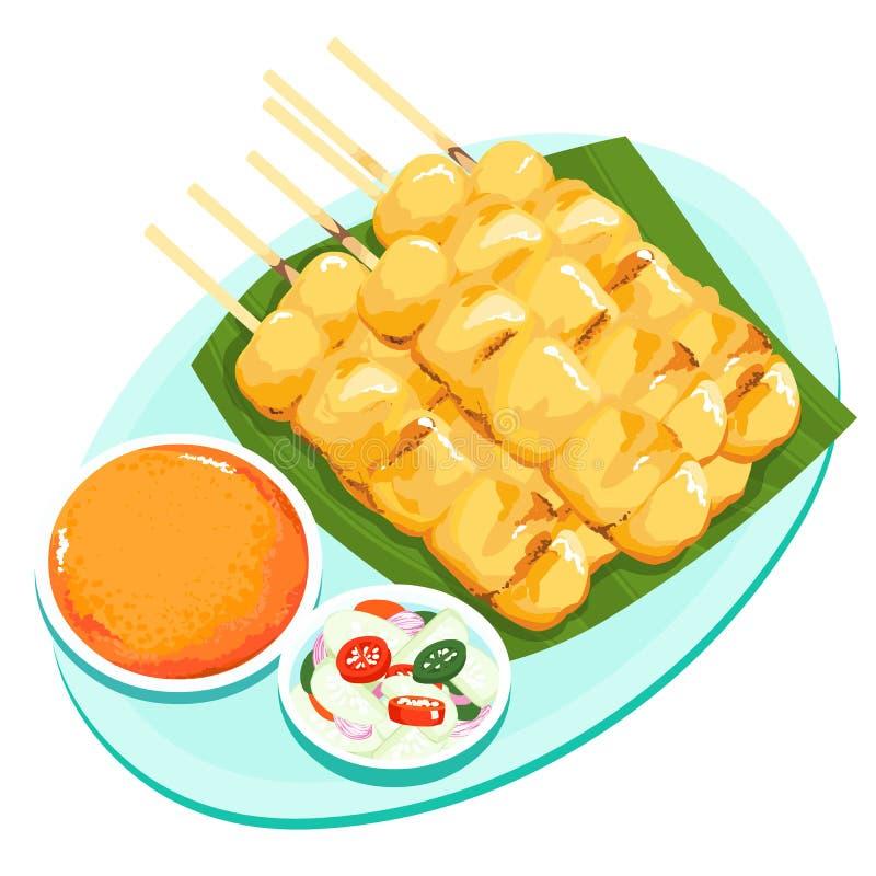 Wieprzowina grill z currym i kokosowym mlekiem ilustracja wektor