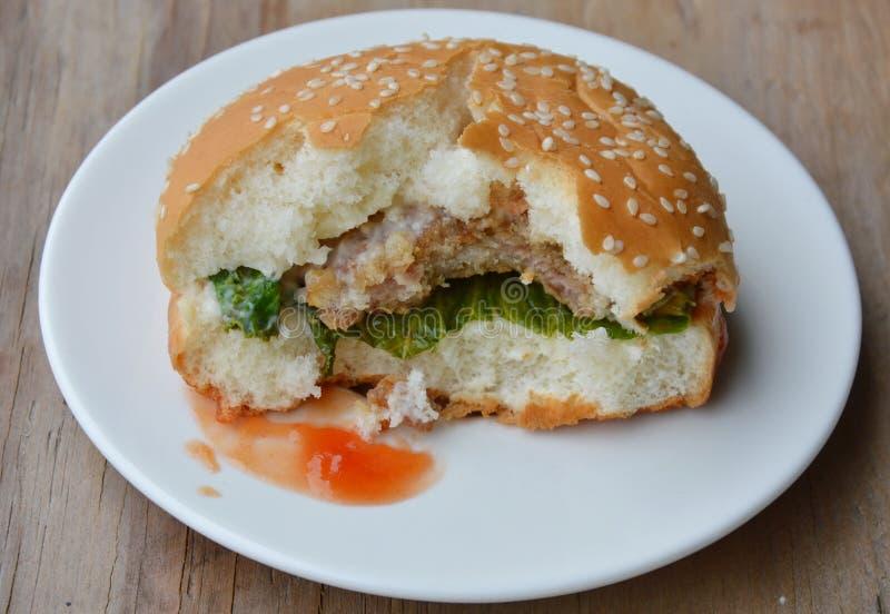 Wieprzowina hamburgeru ketchupu opatrunkowy kąsek na naczyniu fotografia royalty free