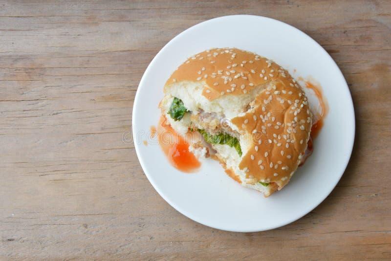 Wieprzowina hamburgeru ketchupu opatrunkowy kąsek na naczyniu fotografia stock