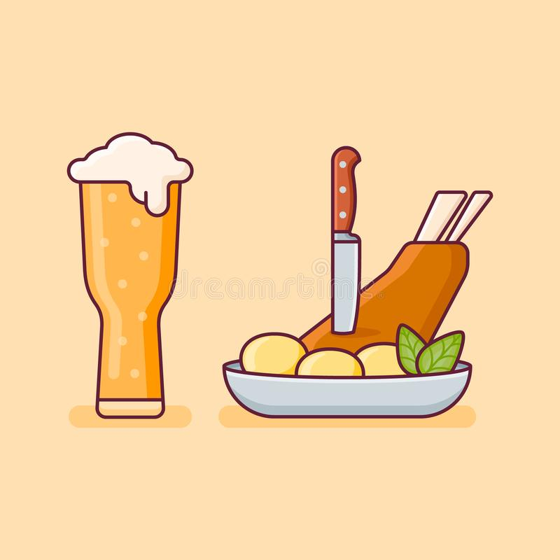 Wieprzowina knykieć z grulami i szkłem piwo ilustracja wektor