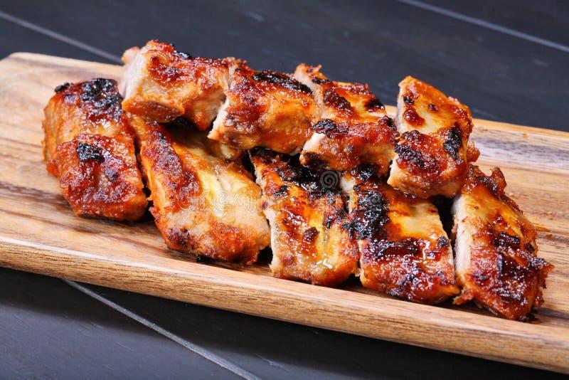 wieprzowina piec na grillu ziobro zdjęcia stock