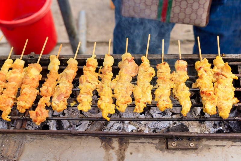 Wieprzowina satay grill fotografia stock