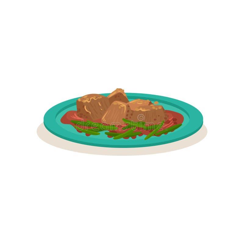 Wieprzowiny fertania dłoniak z fasolkami szparagowymi Apetyczny Malezyjski naczynie azjatykci jedzenie smażący ryżowi tradycyjni  ilustracja wektor