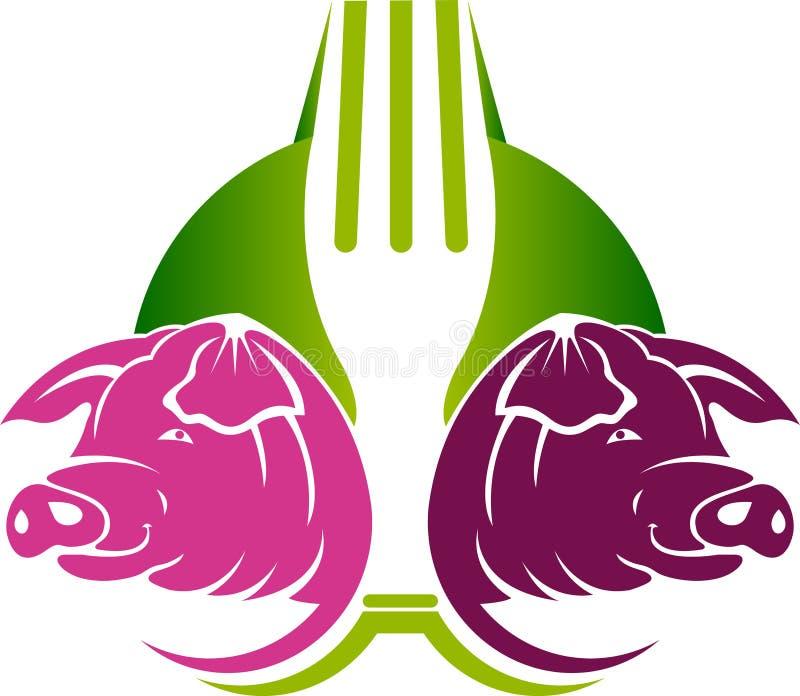 Wieprzowiny jedzenia logo ilustracji