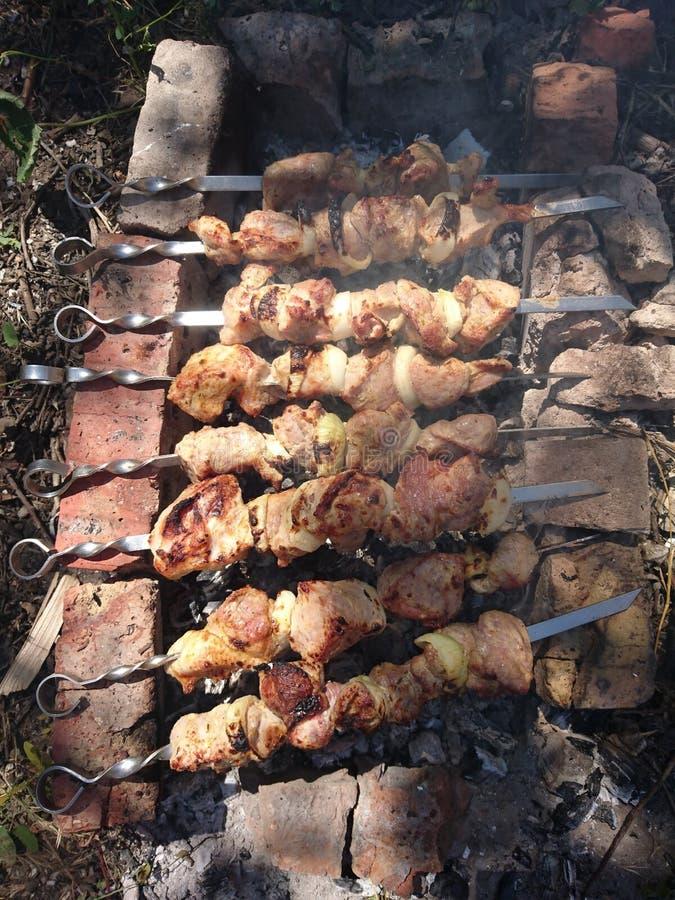 Wieprzowiny mięso smażący na ogieniu dzwoni shish kebab fotografia stock