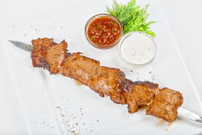 Wieprzowiny piec na grillu kebab zdjęcia stock