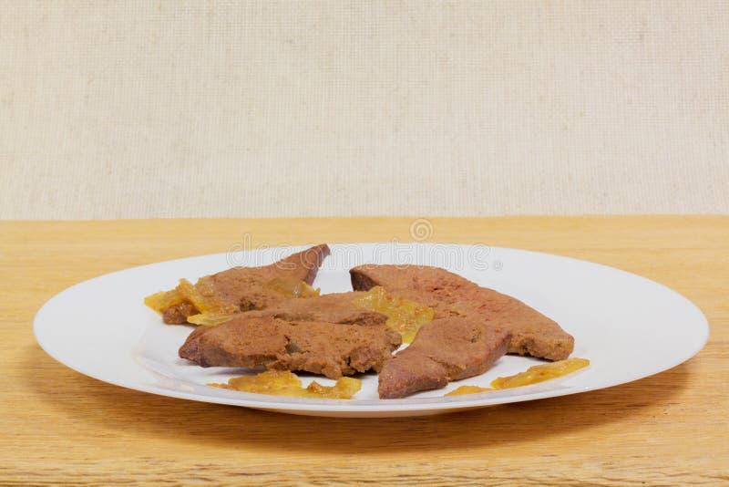 Wieprzowiny wątrobowy Domowy kucharstwo zdjęcia stock