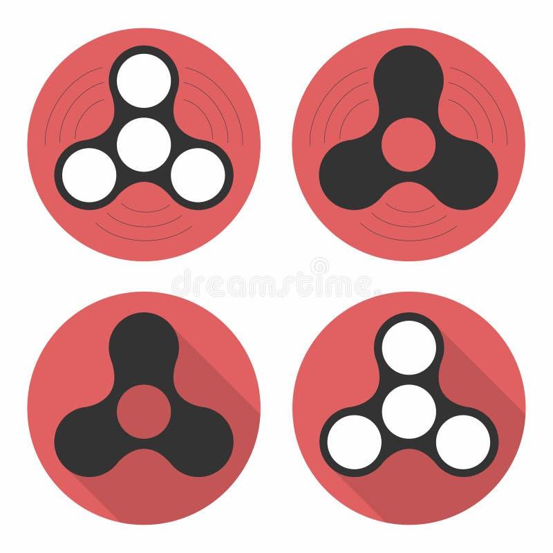 Wiercipięta kądziołka ikony ustawiać, ręka kądziołki Uwolnienie mechanizm dla nerwowej energii lub psychologicznego stresu Płaski ilustracji