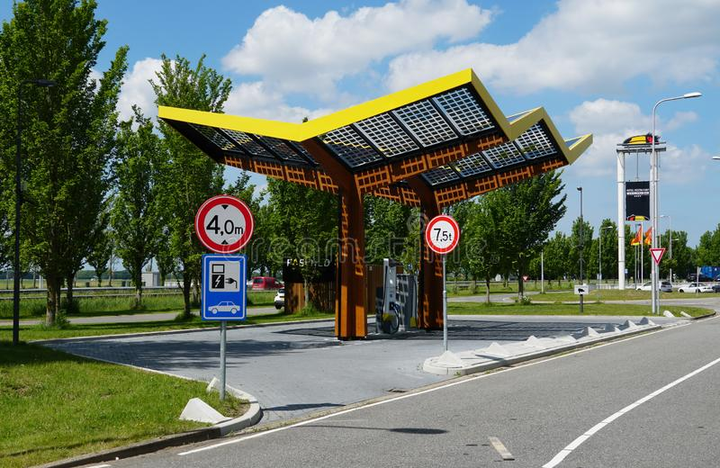 Fastned electrical car charging station. Wieringerwerf, the Netherlands. May 2019. A Fastned charging station for electric cars royalty free stock images