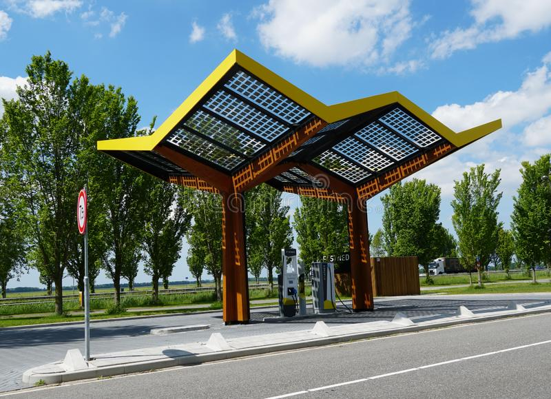 Fastned electrical car charging station. Wieringerwerf, the Netherlands. May 2019. A Fastned charging station for electric cars royalty free stock photo