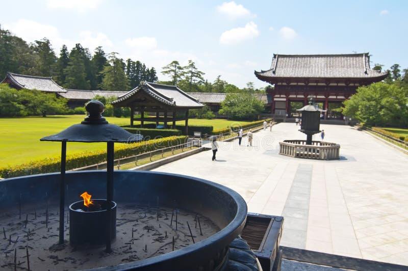 Wierook in Tempel Todai -todai-ji van Nara, Japan stock afbeeldingen